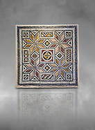Roman mosaics - Geometric Mosaic. House of Okeanos, Ancient Zeugama, 2nd - 3rd century AD . Zeugma Mosaic Museum, Gaziantep, Turkey.  Against a grey background. .<br /> <br /> If you prefer to buy from our ALAMY PHOTO LIBRARY  Collection visit : https://www.alamy.com/portfolio/paul-williams-funkystock/roman-mosaic.html - Type -   Zeugma   - into the LOWER SEARCH WITHIN GALLERY box. Refine search by adding background colour, place, museum etc<br /> <br /> Visit our ROMAN MOSAIC PHOTO COLLECTIONS for more photos to download  as wall art prints https://funkystock.photoshelter.com/gallery-collection/Roman-Mosaics-Art-Pictures-Images/C0000LcfNel7FpLI