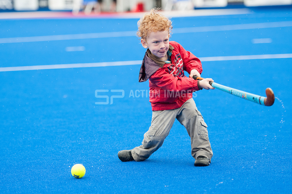 Edward takes part in a half time challenge - Out & About at Day two of the Investec London Cup, Lee Valley Hockey & Tenis Centre, London, UK on 10 July 2014. Photo: Simon Parker