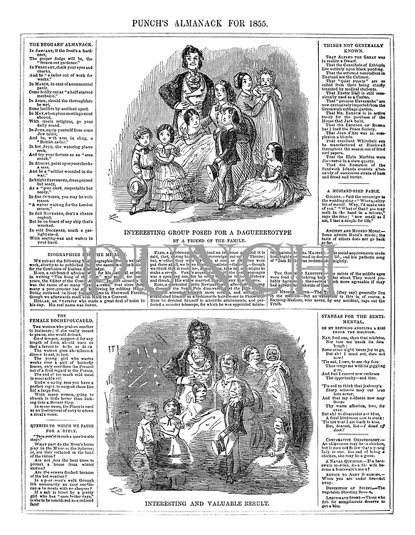 Punch's Almanack for 1855. Interesting group posed for a daguerrotype. By a Friend of the Family. Interesting and Valuable Result.