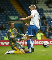 Photo: Aidan Ellis.<br /> Bury FC v Brentford. Coca Cola League 2. 01/09/2007.<br /> Brentford keeper Ben Hamer denies Bury's Andy Bishop