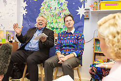 © Licensed to London News Pictures . 12/12/2014 . Sheffield , UK . EMBARGOED UNTIL 00:01 22 December 2014 . Special Christmas edition of radio show Call Clegg recorded at Sheffield Children's Hospital , with Deputy Prime Minister Nick Clegg (r) taking questions from children on the ward , hosted by Nick Ferrari (l) . Photo credit : Joel Goodman/LNP