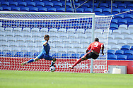 Cardiff city's Fraizer Campbell (9) scores his sides 2nd goal. . Pre season friendly match, Cardiff city v Athletic Club Bilbao at the Cardiff city stadium in Cardiff,  South Wales on Saturday 10th August 2013. pic by Andrew Orchard,  Andrew Orchard sports photography,