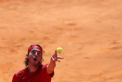 May 4, 2018 - Lisbon, Portugal - Stefanos Tsitsipas of Greece serves a ball to Roberto Carballes Baena of Spain during the Millennium Estoril Open ATP 250 tennis tournament quarterfinals, at the Clube de Tenis do Estoril in Estoril, Portugal on May 4, 2018. (Credit Image: © Pedro Fiuza/NurPhoto via ZUMA Press)
