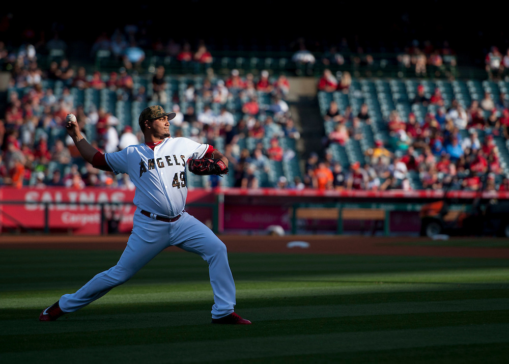 The Angels' Jhoulys Chacin warms up before the Angels 5-1 victory over the Detroit Tigers Monday at Angel Stadium.<br /> <br /> ///ADDITIONAL INFO:   <br /> <br /> angels.0531.kjs  ---  Photo by KEVIN SULLIVAN / Orange County Register  -- 5/30/16<br /> <br /> The Los Angeles Angels take on the Detroit Tigers Monday at Angel Stadium.