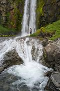 Midvikurarfoss waterfall is in Eyjafjordur.