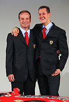 Brazilian Ferrari driver Rubens Barrichello and German Michael Schumacher pose for photographers during the official presentation of the new F2005 F1 car at the team's headquarters in Maranello.<br /> <br /> <br /> <br /> Rubens Barrichello e Michael Schumacher durante la presentazione della nuova Ferrari F2005.<br /> <br /> <br /> <br /> Photo Munch / Graffiti