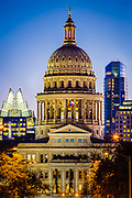 The Texas State Capitol, located in Downtown Austin, is the fourth building to house the state government of Texas. The capitol building contains the chambers of the Texas Legislature and the office of the governor. Originally designed in 1881 by architect Elijah E. Myers, it was constructed from 1882 to 1888 under the direction of civil engineer Reuben Lindsay Walker. A $75 million underground extension was completed in 1993. The building was added to the National Register of Historic Places in 1970 and recognized as a National Historic Landmark in 1986. The Texas State Capitol is 308 ft tall making it the sixth tallest state capitol and one of several taller than the United States Capitol in Washington, D.C.