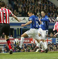 Photo: Aidan Ellis.<br /> Everton v Sunderland. The Barclays Premiership. 01/04/2006.<br /> Everton's Leon Osman scores the first goal