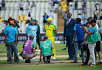 Cricket - 2019 ICC Cricket World Cup - Semi-Final: Australia vs. England<br /> <br /> England's Eoin Morgan and Australia's Aaron Finch wait for the coin toss, at Edgbaston, Manchester.<br /> <br /> COLORSPORT/ASHLEY WESTERN