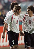 Fotball<br /> VM-kvalifisering<br /> 03.09.2005<br /> Polen v Østerrike<br /> Foto: Wrofoto/Digitalsport<br /> NORWAY ONLY<br /> <br /> MACIEJ ZURAWSKI /9/ AND EBI SMOLAREK /8/ CELEBRATE  SCORING  GOAL FOR POLAND