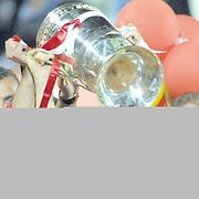 Turkish soccer team Galatasaray between YimpasYozgatspor match after the game Galatasaray Champion in Turkey 2002.  Players Umit KARAN(C), Sebastien PEREZ(R), Berkant GOKTAN(L) during their AliSamiYen Stadium in IStanbul/Turkey.<br /> Photo by Aykut AKICI/TurkSporFoto