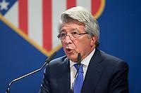 Enrique Cerezo president of Atletico de Madrid during the act of renewal of the contract until 2024 of Koke Resurrecccion  at Vicente Calderon stadium in Madrid, Spain. May 23, 2017. (ALTERPHOTOS/Rodrigo Jimenez)