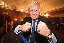 © licensed to London News Pictures. London, UK. 25/11/2011. Mayor of London, Boris Johnson in the boxing ring at Mayor's Boxing Cup Tournament in Porchester Hall West London. Photo credit: Tolga Akmen/LNP