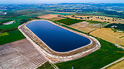 Aerial photography of a sewerage treatment facility. The treated water is then used for irrigation and agricultural use. Photographed, Israel