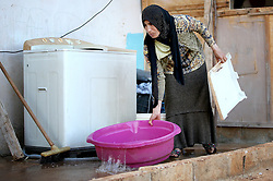 A Syrian refugee woman does her washing in a settlement camp where she lives amongst an olive grove in Koura, near Tripoli, Lebanon.