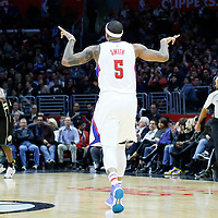 16 December 2015: Los Angeles Clippers center Josh Smith (5) celebrates during the Los Angeles Clippers 103-90 victory over the Milwaukee Bucks, at the Staples Center, Los Angeles, California, USA.