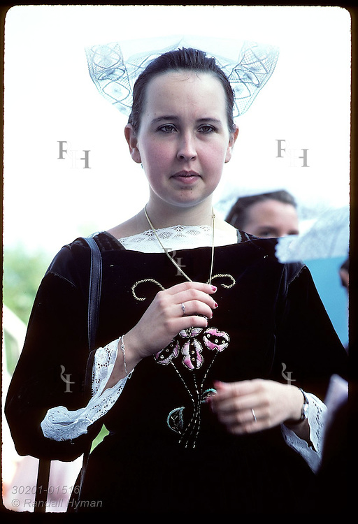 Woman in Breton costume @ 'pardon' festival; town of Crac'h in the Morbihan, Brittany. France