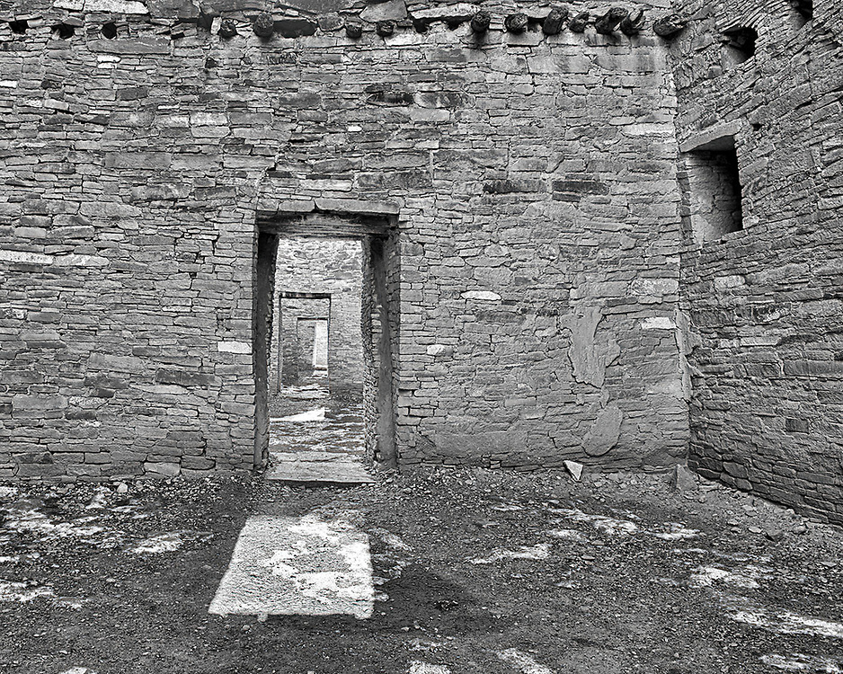 One of many interior galleries from Pueblo Bonita - an ancient Anasazi dwelling located in the Chaco Culture National Historical Park, New Mexico.