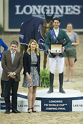 Guerdat Steve, (SUI) winner of the Longines FEI World Cup™ Jumping Final during the prize giving with Steffie Graf and Juan Carlos Capelli, Vice president Longines<br /> Las Vegas 2015<br />  © Hippo Foto - Dirk Caremans<br /> Final III round 2 20/04/15