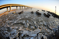 February 6, 2018 - Qingdao, Qingdao, China - Qingdao,CHINA-6th February 2018: Fishing boats can be seen at the partially frozen Jiaozhou Bay in Qingdao, east China's Shandong Province. (Credit Image: © SIPA Asia via ZUMA Wire)