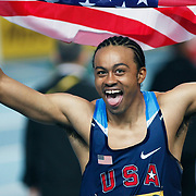 United States' Aries Merritt celebrates winning the gold medal in the Men's 60m Hurdles final during the IAAF World Indoor Championships at the Atakoy Athletics Arena, Istanbul, Turkey. Photo by TURKPIX