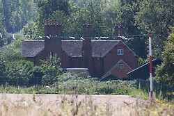Harefield, UK. 31st July, 2020. The rear of Dews Farm on the day on which HS2 were taking compulsory possession from Anne and Ron Ryall, aged 73 and 72.