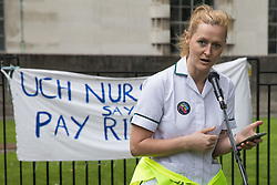 London, UK. 3rd July, 2021. Occupational therapist Jordan Rivera addresses NHS workers and supporters at a protest rally opposite Downing Street as part of a national day of action to mark the 73rd birthday of the National Health Service. The protesters called for fair pay for NHS workers, for better funding of the NHS and for an end to privatisation measures affecting the NHS.