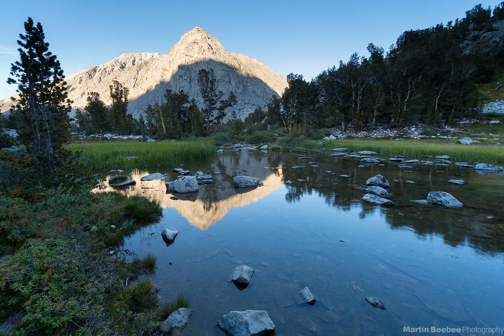 Evening light on mountains above Gem Creek, John Muir Wilderness, Inyo National Forest, California