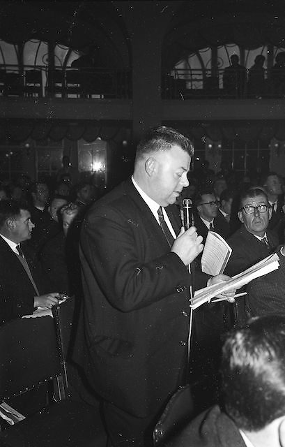 Mr Paddy Ryan (Calbally, Co. Limerick) Chairman of the South Limerick Board, speaking at the GAA Annual Congress in the Gresham, Dublin on Sunday...Annual Congress, GAA. 29.3.1964. 29th March 1964