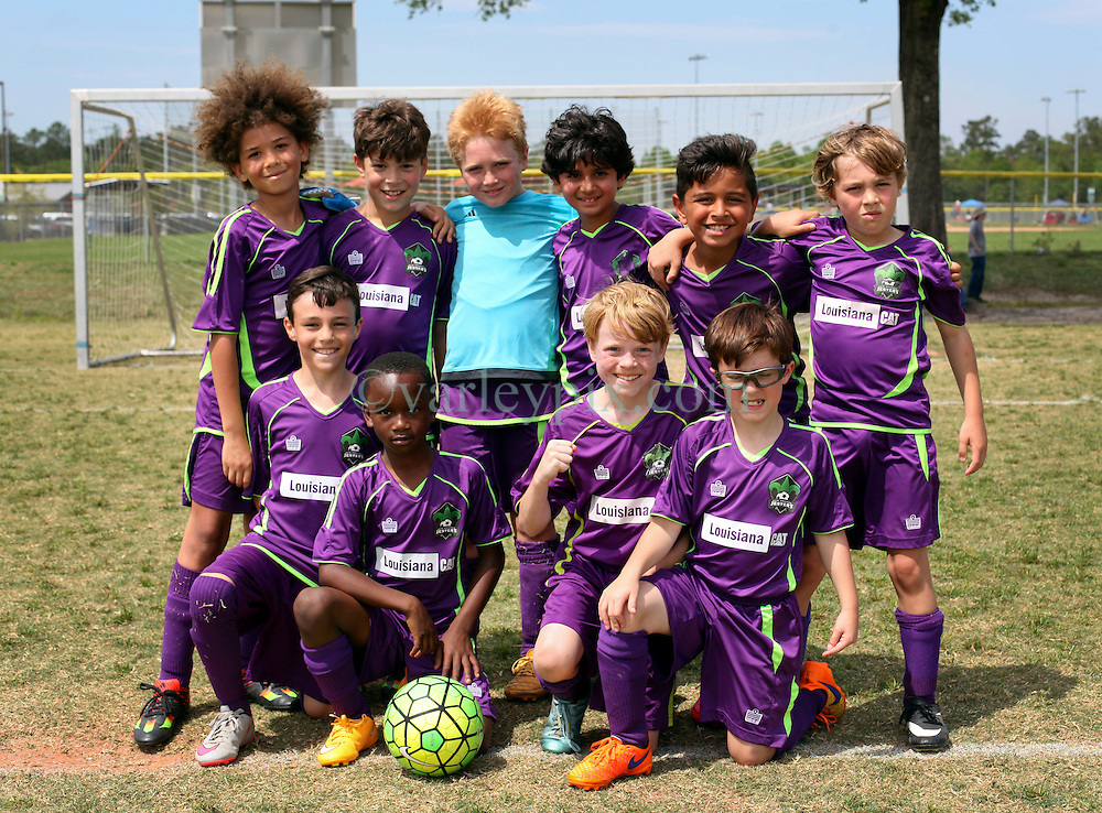 09 April 2016. Hammond, Louisiana.<br /> South Tangi Youth Soccer Association (STYSA), Chappapeela Sports Complex, 30th Annual Strawberry Cup,  <br /> New Orleans Jesters Youth Academy U9 team Purple. <br /> Photo©; Charlie Varley/varleypix.com
