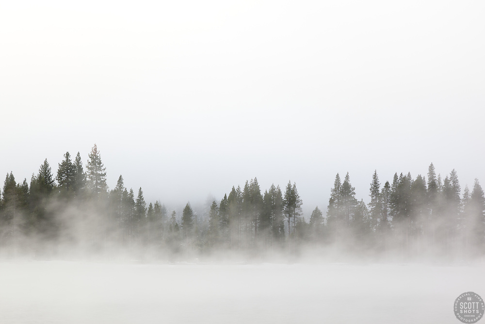 """""""Donner Lake Morning 13"""" - Photograph of a foggy Donner Lake shot in the morning."""