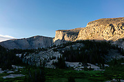 Morning on the trail beneath  Lost Twin Lakes cirque, Big Horn National Forest, Ten Sleep, Wyoming.