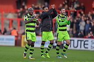 Forest Green Players Celebrate with the fans at full time during the EFL Sky Bet League 2 match between Stevenage and Forest Green Rovers at the Lamex Stadium, Stevenage, England on 21 October 2017. Photo by Adam Rivers.