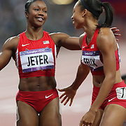 Allyson Felix, USA, (right), winning the Gold Medal in the  Women's 200m Final, is congratulated by team mate and Bronze Medal winner Carmelita Jeter, USA, at the Olympic Stadium, Olympic Park, during the London 2012 Olympic games. London, UK. 8th August 2012. Photo Tim Clayton