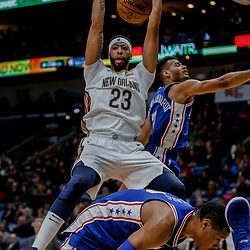 Dec 10, 2017; New Orleans, LA, USA; New Orleans Pelicans forward Anthony Davis (23) dunks over Philadelphia 76ers guard Timothe Luwawu-Cabarrot (7) during the second quarter of a game at the Smoothie King Center. Mandatory Credit: Derick E. Hingle-USA TODAY Sports