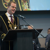Rector Dr. Andras Koltay delivers his speech during the year opening ceremony at the National Public Service University in Budapest, Hungary on Sept. 7, 2018. ATTILA VOLGYI