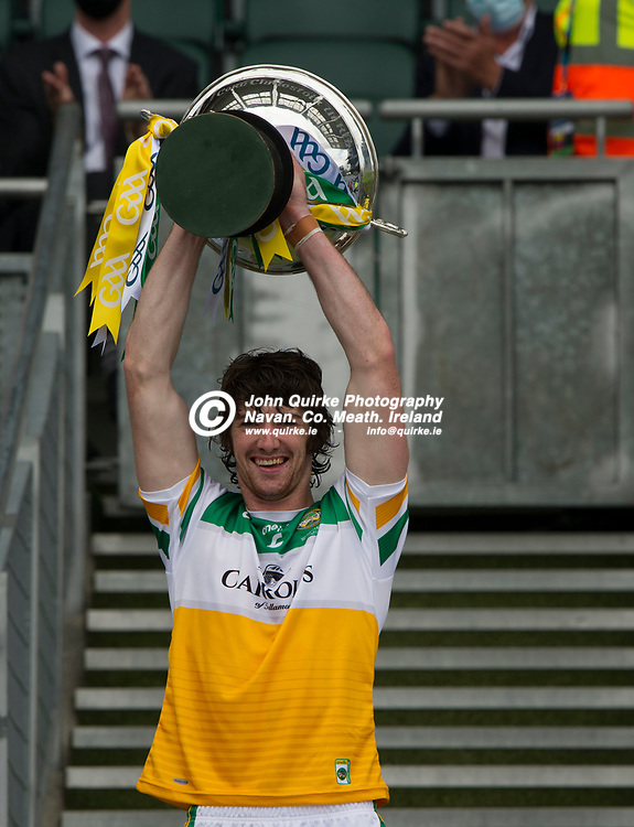01–08-21.<br /> Derry v Offaly - Christy Ring Cup Final at Croke Park.<br /> Offaly captain Ben Conneely raising the Christy Ring Cup.<br /> Photo: the John Quirke / www.quirke.ie<br /> ©John Quirke Photography, 16 Proudstown Road, Navan. Co. Meath. (info@quirke.ie / 046-9028461 / 087-2579454).