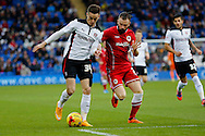 Tom Lawrence of Rotherham goes past John Brayford of Cardiff. Skybet football league championship match, Cardiff city v Rotherham Utd at the Cardiff city stadium in Cardiff, South Wales on Saturday 6th December 2014<br /> pic by Mark Hawkins, Andrew Orchard sports photography.