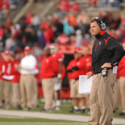 Oct 10, 2009; Piscataway, NJ, USA; Rutgers head coach Greg Schiano watches second half NCAA college football action in Rutgers' 42-0 victory over Texas Southern at Rutgers Stadium.