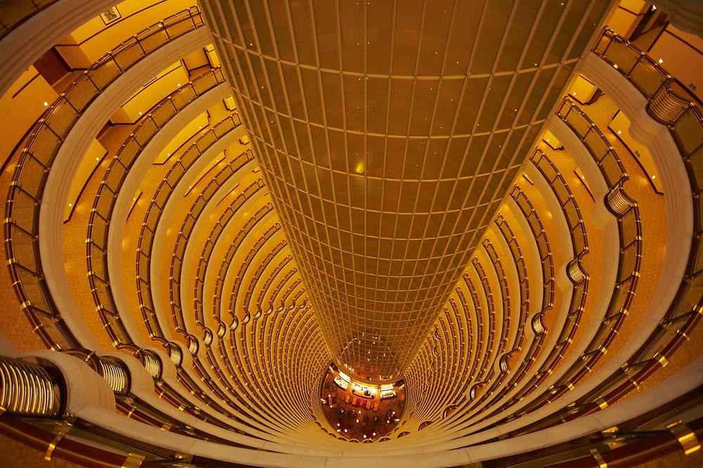 Looking down inside the Hyatt Shanghai Atrium inside the Jin Mao Tower, Shanghai