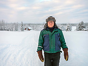 Portrait of Urpo Kongas on 19th February 2020 in Lompolo village in Finnish Lapland. The Finnish word 'lompolo' means a small lake with a river running through it, and the village of Lompolo offers a magnificent view over the lake towards the Pallastunturi and Ounastunturi fells.