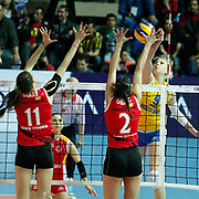 Rabita BAKU's Natalya MAMMADOVA (R) during their Women's Volleyball CEV Champions League semi final match at Burhan Felek Arena in Istanbul, Turkey on 20 March 2011. Photo by TURKPIX