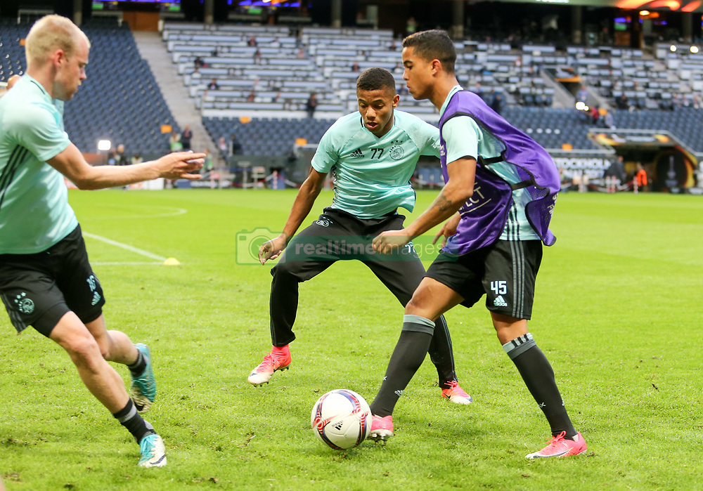 May 23, 2017 - Stockholm, Sweden - Heiko Westermann, David Neres,  Justin Kluivert of Ajax team during a training session at The Friends Arena ahead of the UEFA Europa League Final between Ajax and Manchester United at Friends Arena on May 23, 2017 in Stockholm, Sweden. (Credit Image: © Foto Olimpik/NurPhoto via ZUMA Press)