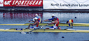 Hamilton, Scotland,  ROM M2+  [Dumitru RADUCANU, Neculai TAGA and cox Dimitrie POPESCU] and  FRA M2+, {Yannick SCHULTE, Christophe TELLIER and cox  Luc PREVOT],  in the final FISA 1996 Junior and Non Olympic World Championships, Strathclyde Country Park, Rowing Course, Lanarkshire, 5/11.08.1996 [Mandatory Credit. Peter Spurrier/Intersport Images]
