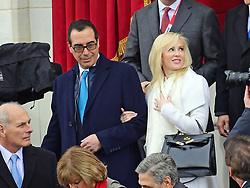 January 20, 2017 - Washington, District of Columbia, United States of America - United States Secretary of the Treasury-designate Steven T. Mnuchin and his fiancee Louise Linton arrive for the swearing-in ceremony as Donald J. Trump is sworn-in as the 45th President of the United States on the West Front of the US Capitol on Friday, January 20, 2017..Credit: Ron Sachs / CNP. (Credit Image: © Ron Sachs/CNP via ZUMA Wire)