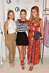 Left to right, NATALIE JOEL, SOPHIE HERMANN and LAUREN HUTTON at the launch for the collaboration of Joel Swimwear for Collier Bristow held at Collier Bristow, 61 King's Road, Chelsea, London on 11th August 2016.