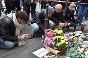 Flowers on the street. Cafe Bonne Biere, Rue Fontaine au Roi, near Republique<br />