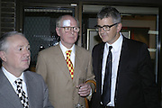 Gilbert and George and Jay Jopling. Work by Mexican artist, Gabriel Orozco. Gallery opening & private view at new White Cube space, 25-26 Mason's Yard, London and afterwards at Claridges. London. 27 September 2006. <br />
