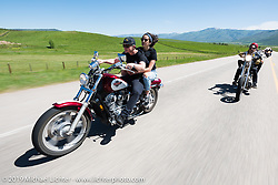 Trevor Mekelburg on his Honda Shadow riding the 20 Mile Road in Steamboat Springs during the Rocky Mountain Regional HOG Rally, Colorado, USA. Saturday June 10, 2017. Photography ©2017 Michael Lichter.