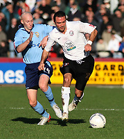 Photo:Mark Stephenson,Hereford united v Port vale.<br />fa cup 2-11-2006.Herefords Alex Geannin (R) with Vales Danny Whitaker.